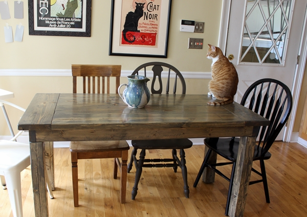 farmhouse table: easy, one month long project -