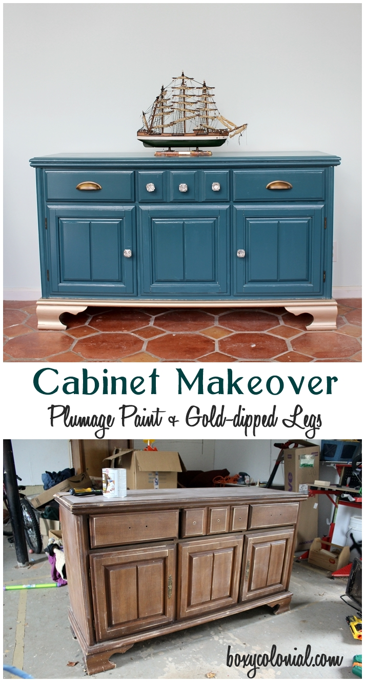 Outdated cabinet made over with Martha Stewart's Plumage paint, new hardware, and gold-dipped legs