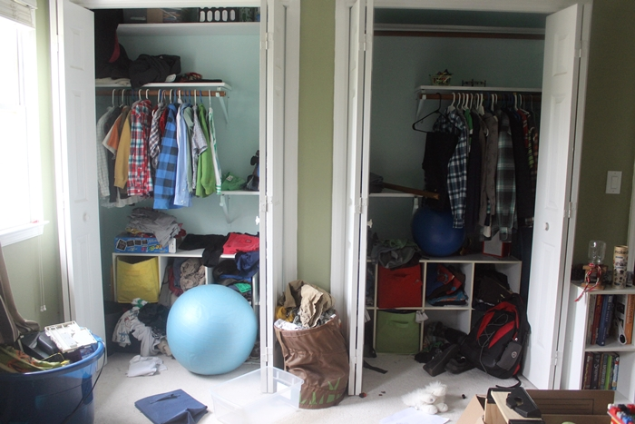"messy ""before"" closet"