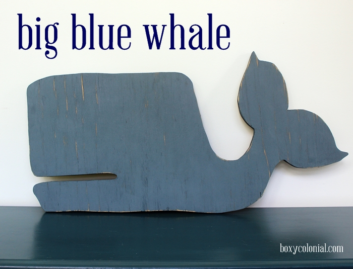 big blue wooden whale