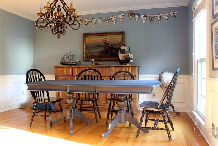 our newly hale navy dining room table and the finish max pro paint