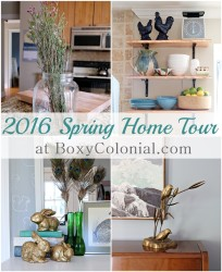 2016 Spring Home Tour from Boxy Colonial, complete with gold bunnies, peacock feathers, and brass birds.