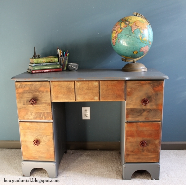 Rustic industrial vintage desk makeover for tween room for Klassic furniture