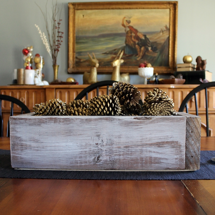 creative ideas to decorate picture frames - Rustic Wooden Box Centerpiece with Gold Pinecones